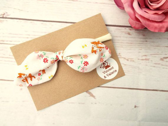 **Ready to post**  Pretty deer and flower print baby twist bow headband  A very soft headband which is ideal for babies, they forget they are wearing them  The bands fit babies from newborn to age 2 approx Each bow is approx 5 inches long - please use cotton reel for extra help gauging the size The twist is a 100% cotton poplin, it can be removed for washing and can be tied onto other fabric headbands or elastic bands. The twists are interchangeable with same style throughout my shop…