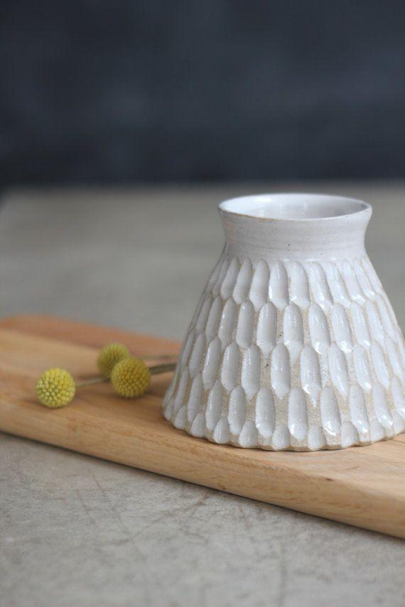 Handmade Carved White Vase Utensil Pot #PotteryClasses
