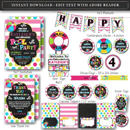 Pool Party Birthday Bundle Set – Girl Pool Party Birthday Bundle Set – Girl Pool Party Birthday Invitation – Instant Download – Edit with Adobe Reader – GIRL –