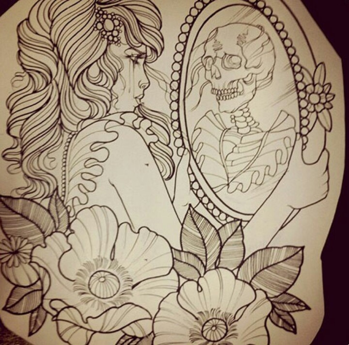 GIRL MIRROR SKULL SKELLETON * Sketch Idea | TATTOO*INK ...