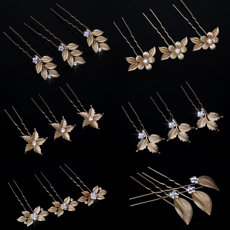 Gold Flower Leaf Hair Pins Vintage Wedding Accessories Crystal Bridal Headpiece