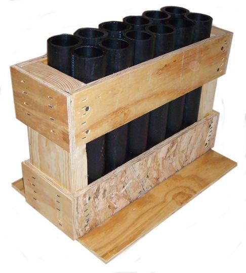 "PYROBOOM Fireworks Mortar Rack 12-shot rack with HDPE DR11 12"" Mortar Tubes"