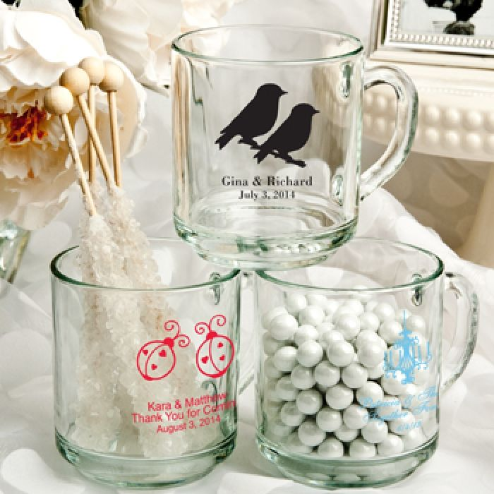 Give your guests a personal reminder of your memorable day with these personalized 10 Oz.  glass Handy mug favors