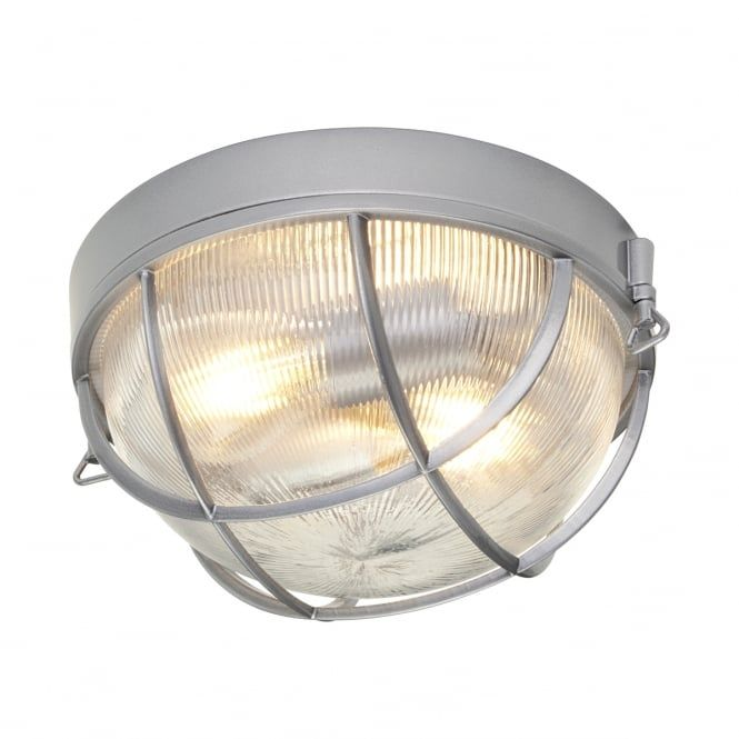 A modern nautical style flush mount exterior bulkhead light in a Hermatite finish with cage design and clear holophane glass diffuser. The light is IP44 rated for safe outdoor use and is suitable for use on a standard switch, dimmer switch and separate PIR motion sensor providing the bulbs used are suitable.