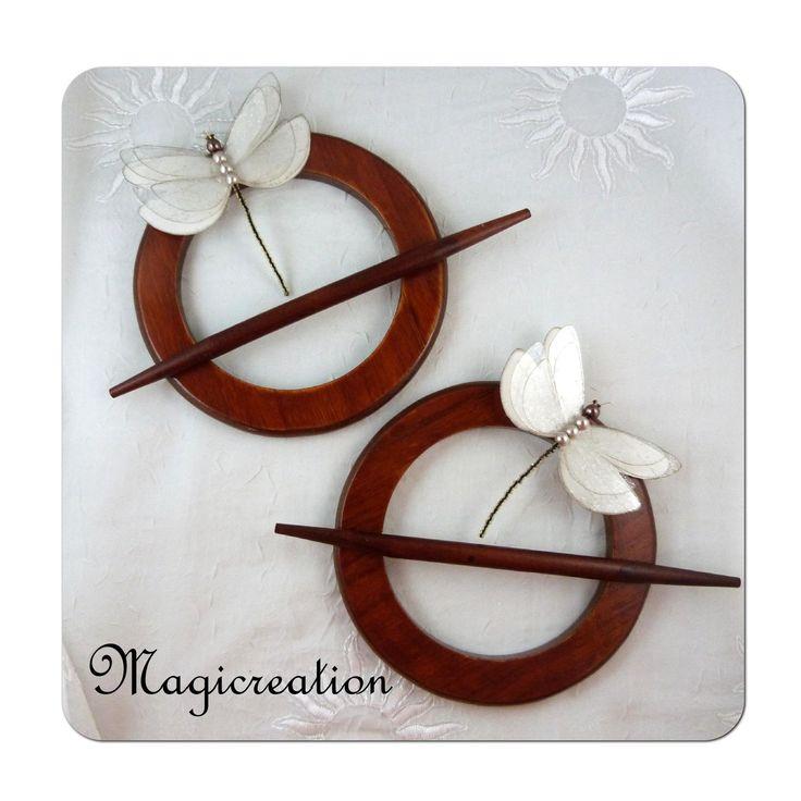 embrases rideaux marron et libellules soie blanc ivoire aimantées