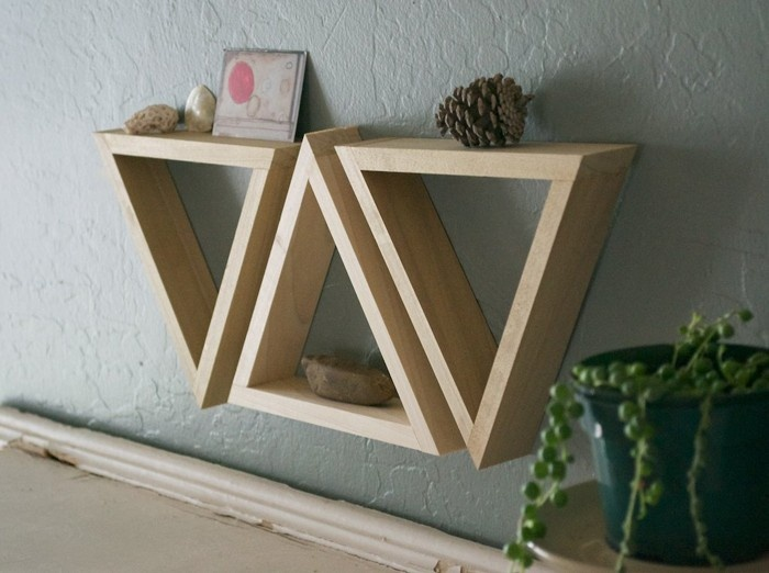 Set of 3 triangle shelves uncovet home pinterest the games pool tables and zelda - Triangular bookshelf ...