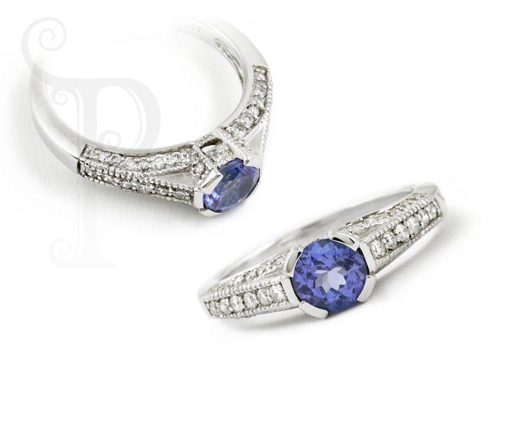 Custom Made 18ct White Gold Tanzanite and Diamond Ring