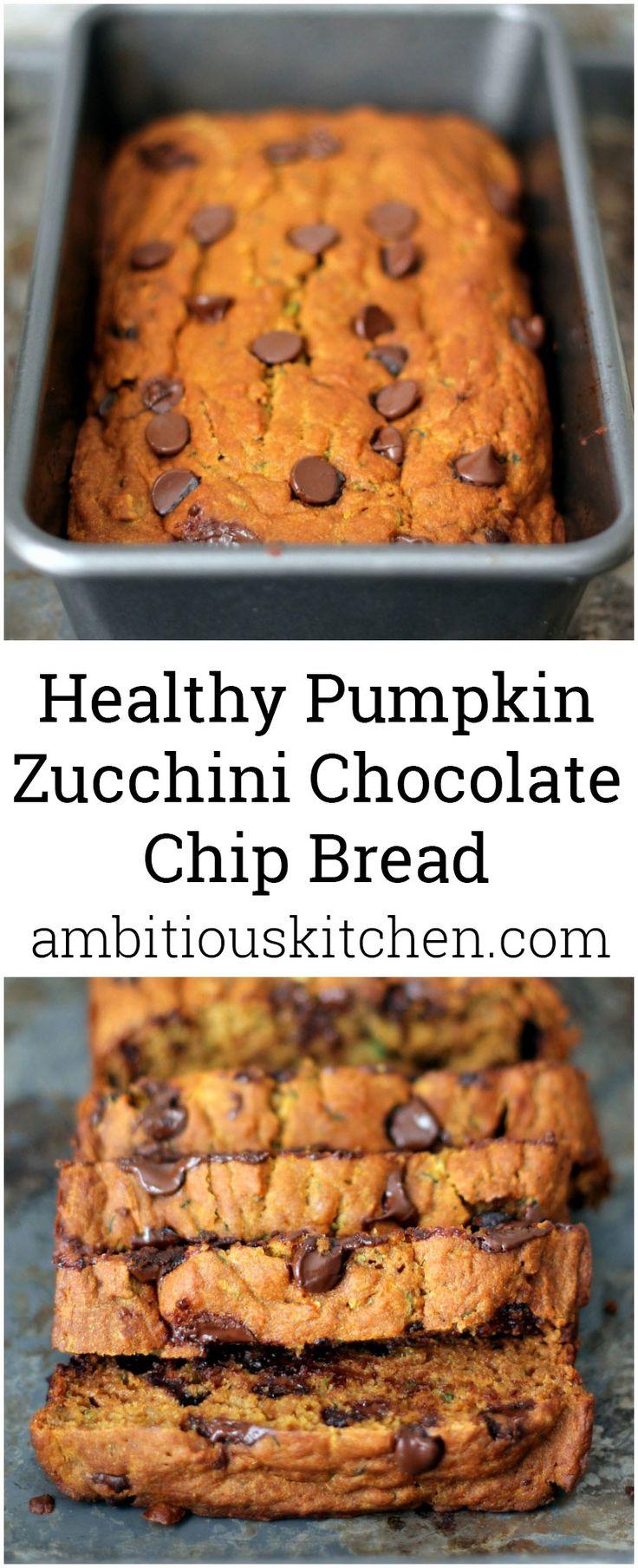 Healthy Pumpkin Zucchini Chocolate Chip Bread