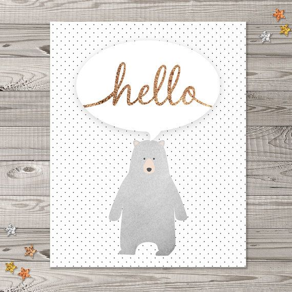 Bear Nursery Wall Art Woodland Nursery Art Faux by LlamaCreation