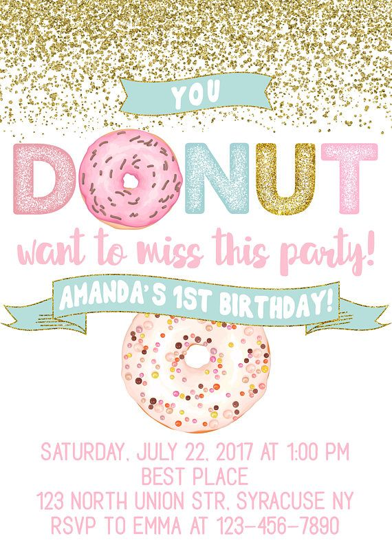 Donuts 1st Birthday Invitation Party First Pastel Donut ANY AGE