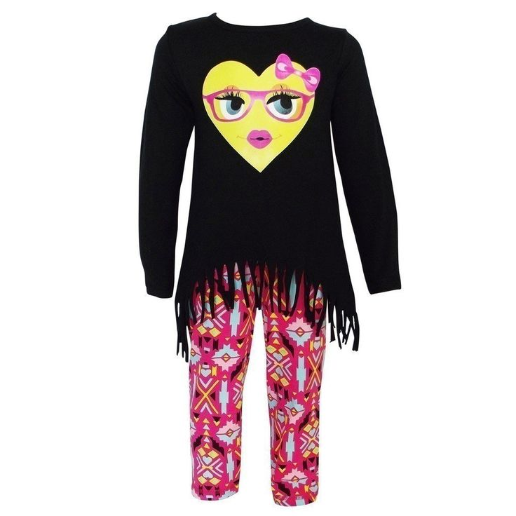 AnnLoren Big Girls Black Heart Emoji Hi-Low Tunic Aztec Legging Set 9/10. Fun heart emoji printed outfit from AnnLoren. Cute and fun two piece set includes tunic and pants. Top with colorful emoji print and fringed edges. Aztec motif patterned leggings complete the look. Sizing is based on U.S. clothing size standards.