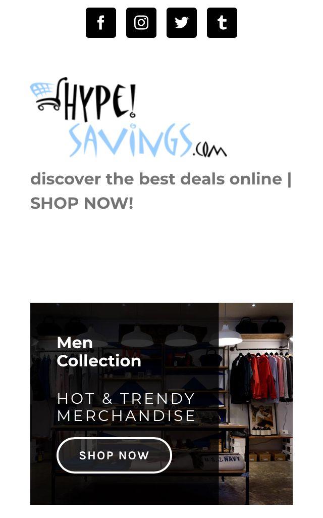 HYPEsaving.com website front page banner AD - #hypesavings  @hypesavings.store