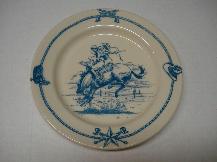 Hartstone Blue Sky Ranch Santa Fe Plate Bucking Bronco Horse CowGirl Cowboy picclick.com