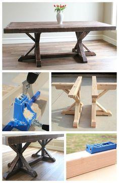 Пример готового изделия: обеденного стола с оригинальным основанием, сделанного с помощью приспособления для косых соединений - кондуктора Kreg Jig