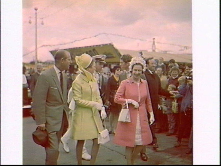 Royal family of Great Britain tour for the Captain Cook Bi-Centenary Celebrations visit the Royal Easter Show 1970, Sydney Showground.  	Maurie Wilmott (Photographer, Australian Photographic Agency, 1969-)  Find more detailed information about this photograph:  http://acms.sl.nsw.gov.au/item/itemDetailPaged.aspx?itemID=147198  From the collection of the State Library of New South Wales www.sl.nsw.gov.au