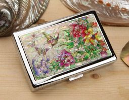 Mother of Pearl 100S Extra Long Cigarette Case with Peony Flower Butterfly