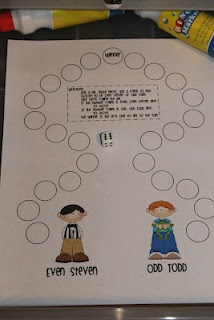Simple teaching even and odd game - pick odd or even and when your number (odd / even) is rolled you move one spot. For 3rd grade - add three place value dice (from Kim Sutton). Laminate this and let them use vis-a-vis to write the number in the circle.