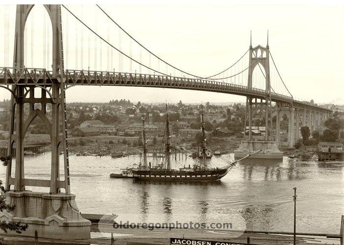 Old Ironsides under the St John's Bridge - Portland, Oregon  c.1933  (photo by Ralph Eddy)