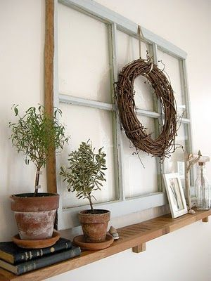 Wall decor/ old window frame on shelf