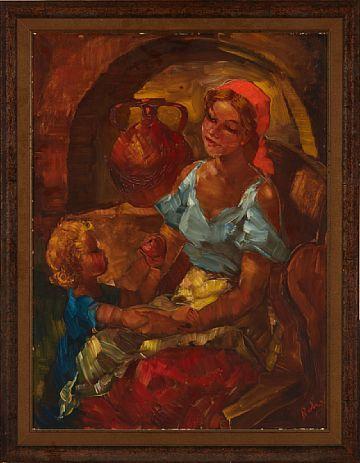 Charles Antal Roka, Kvinne med barn / Maleri / Nettauksjon / Blomqvist - Blomqvist Kunsthandel