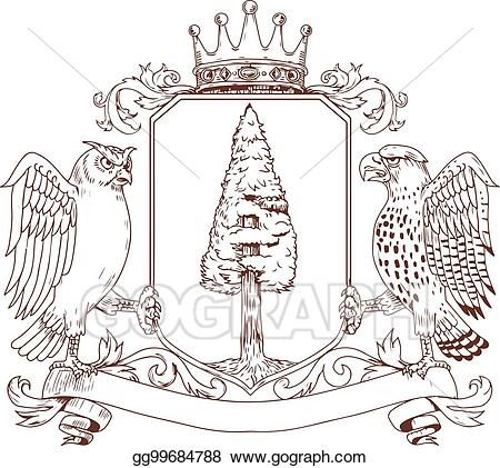 Vector Art - Owl-hawk-redwood-crown-crest-bw. EPS clipart ...