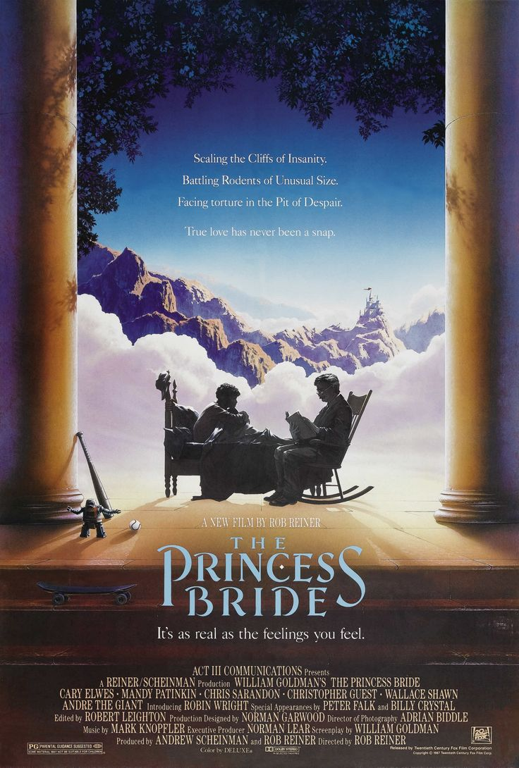 """""""The Princess Bride"""" (1987). COUNTRY: United States. DIRECTOR: Rob Reiner. SCREENWRITER: William Goldman. CAST: Robin Wright Penn, Cary Elwes, Mandy Patinkin, Chris Sarandon, Christopher Guest, Wallace Shawn, André the Giant, Fred Savage, Peter Falk, Peter Cook, Mel Smith, Carol Kane, Billy Crystal, Anne Dyson, Margery Mason, Malcolm Storry, Willoughby Gray, Betsy Brantley, Paul Badger"""