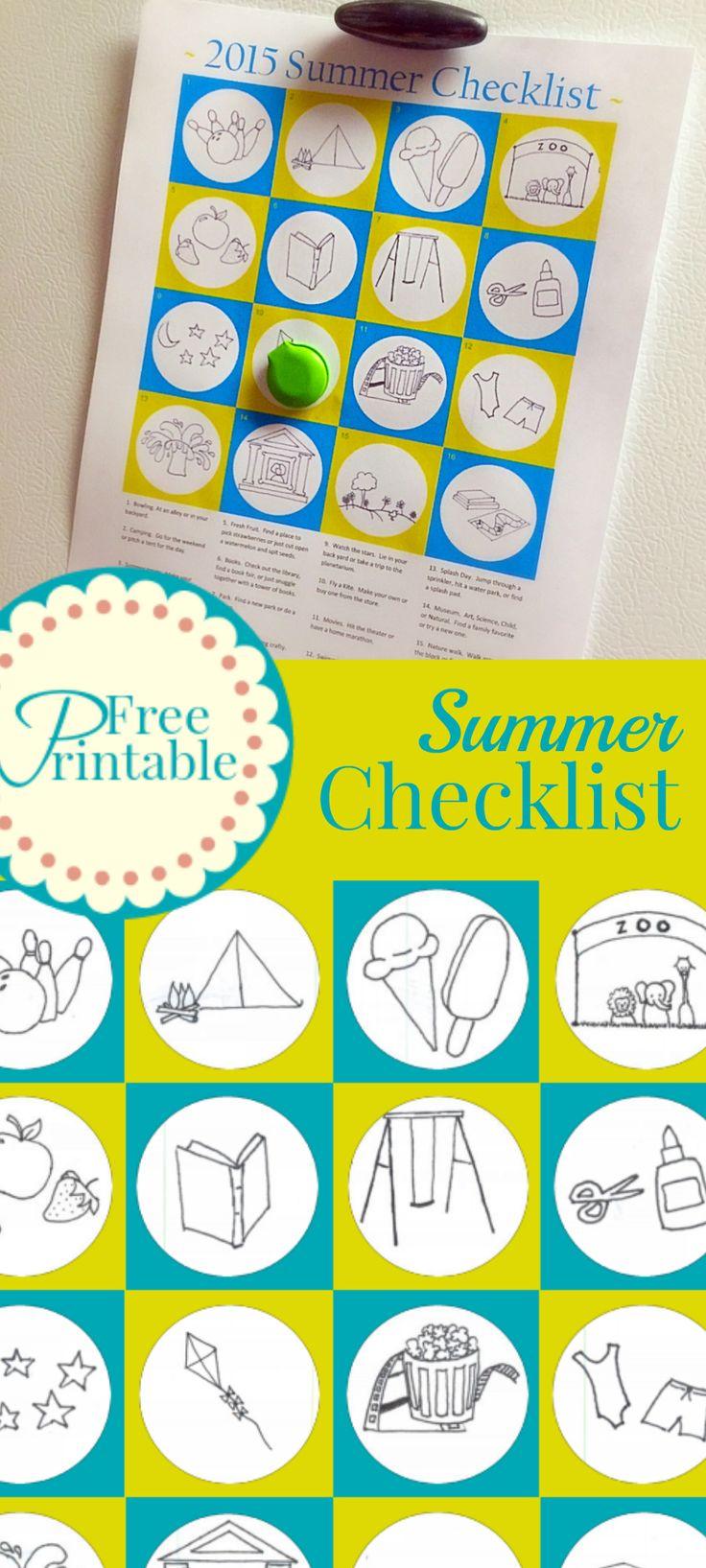 2015 Summer Checklist Free Printable ideas for a summer bucket list.