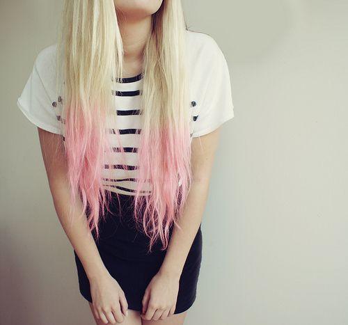 Pastel pink hair dip dye