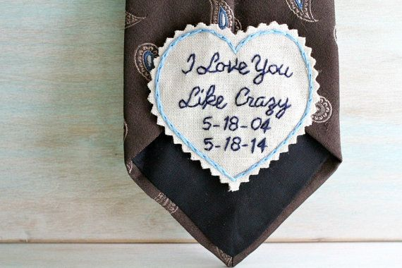 Custom embroidered love note for your sweet husband on your Anniversary! How perfect is this keepsake?! Give your hubby this hand embroidered love