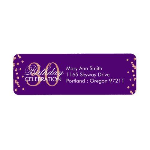 Rose Gold Purple 30th Birthday Glitter Confetti Label
