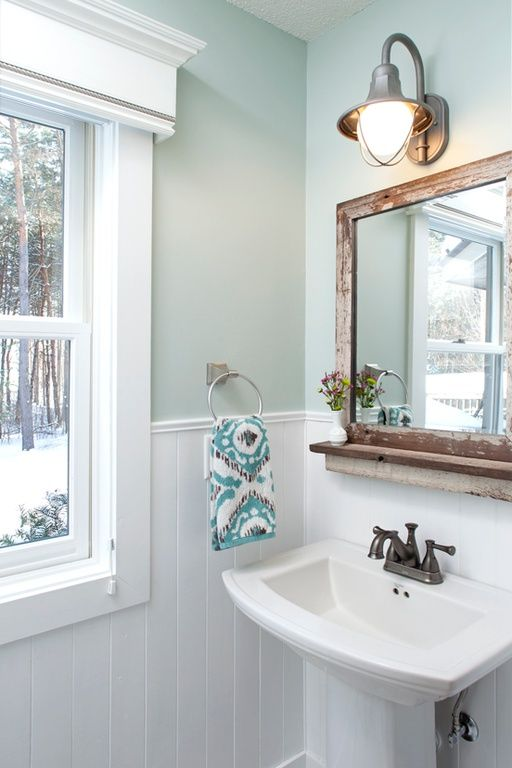 Country Powder Room With Paintable White Beadboard