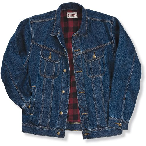 Wrangler Rugged Wear® Flannel Lined Denim Jacket Antique Navy ($53) ❤ liked on Polyvore