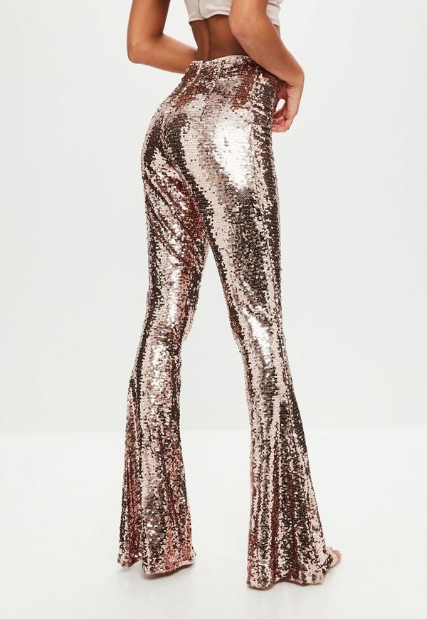 d157adce6dfda3 Gold sequins flare pants with high waist and back zip. | Style in ...