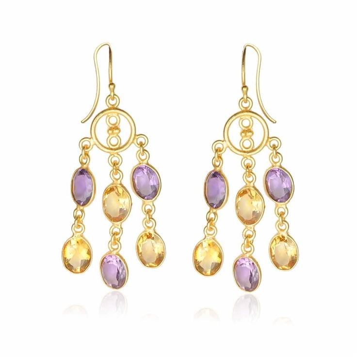 Citrine and Amethyst chandelier #earrings by Freddie & Cinnamon