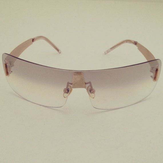 Frameless Vintage Glasses : New Vintage 90s Wrap Around Lightly Tinted Beige Lens ...