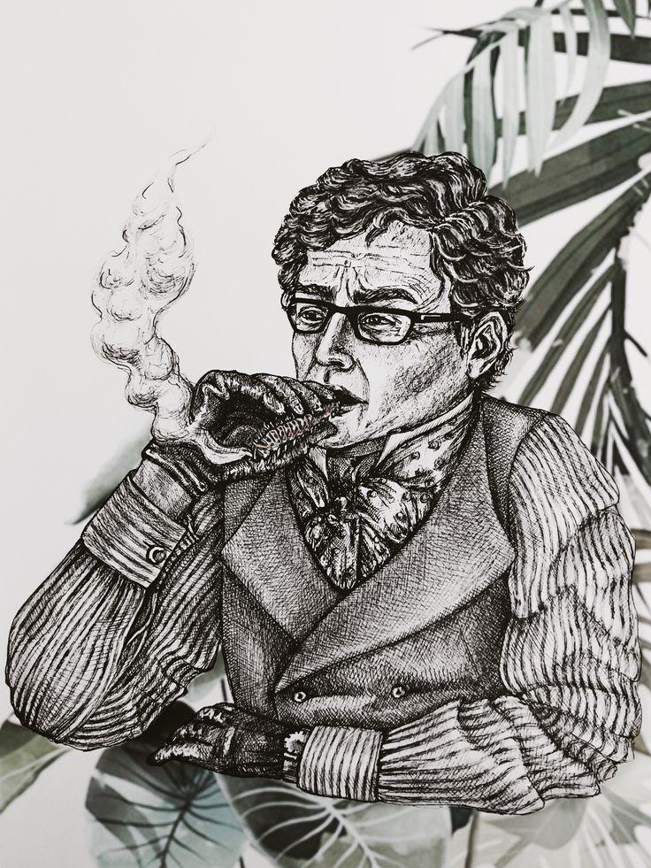 a vintage fashionable man smoking a pipe