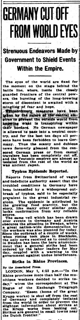 """WWI, 1 May 1917;""""No German newspaper allowed to pass into neutral country"""" -Evening Star, Washington"""