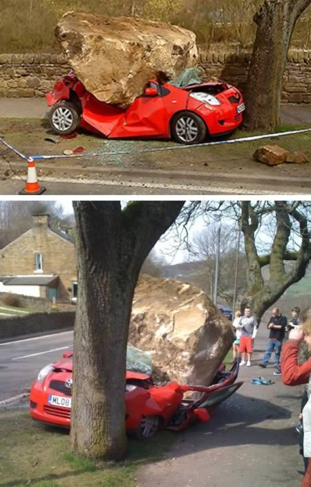 """""""Are all of you folks wondering how that rock smashed this poor Toyota Yaris? Apparently, a lorry loaded with rocks accidentally dropped the 8 ton stone on the small car. """"The driver said he looked in his mirror and saw the rock slipping but it was on the car before he could do anything. If anyone had been in it, they would not have stood a chance,"""" said a photographer who saw the whole thing."""""""