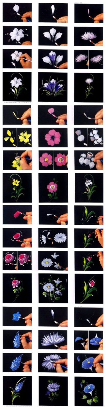 12 excellent ways to hand paint flowers                                                                                                                                                      More