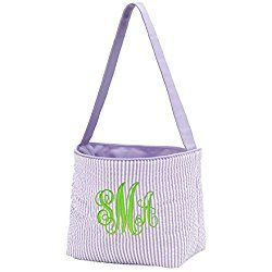 Top Quality Easter Bucket Seersucker Fabric Easter Basket Monogram Personalized Purple