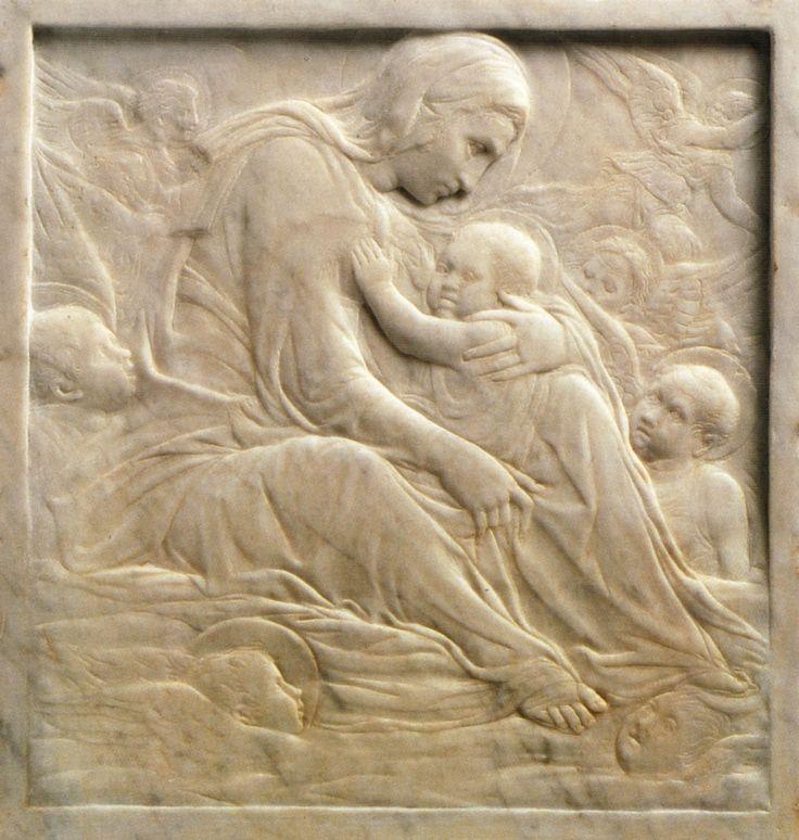 """Donatello, vero nome Donato di Niccolò di Betto Bardi (Firenze 1386 – Firenze  1466), """"Madonna delle Nuvole"""",anni 1430.Bassorilievomarmo33,5x32,2 Stati Uniti Stati UnitiBostonMuseum of Fine Arts"""