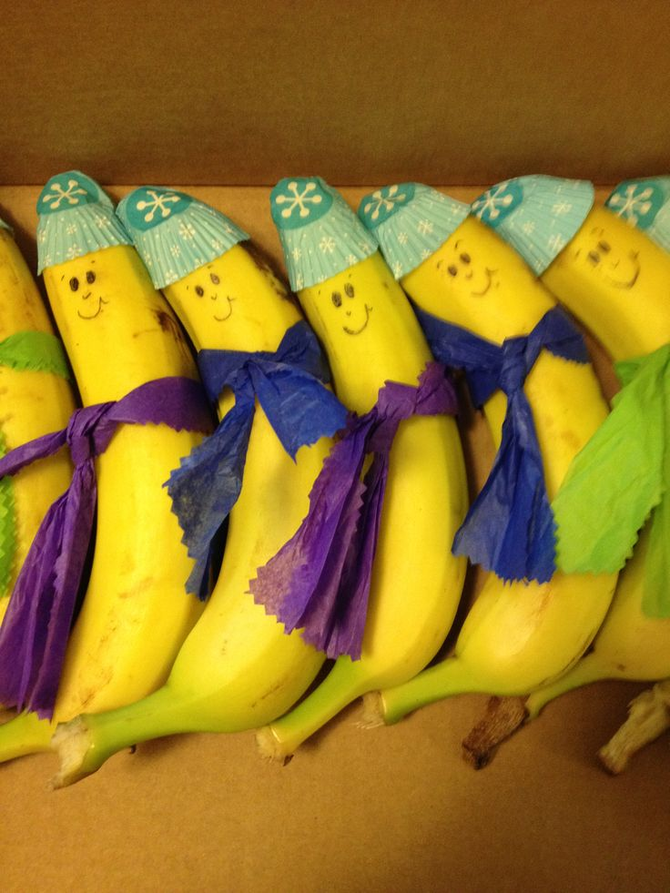 Winter Bananas for school snack week! These are so cute! These would be great for ISTEP week so students receive a healthy snack!