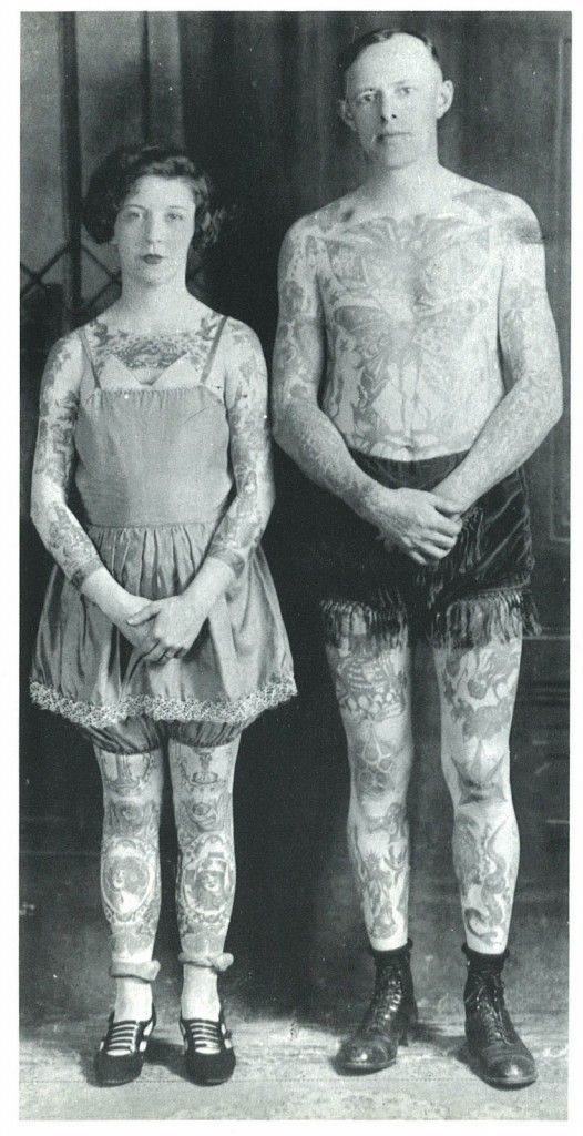 Vintage photo of an iconic tattooed man and woman in victorian times