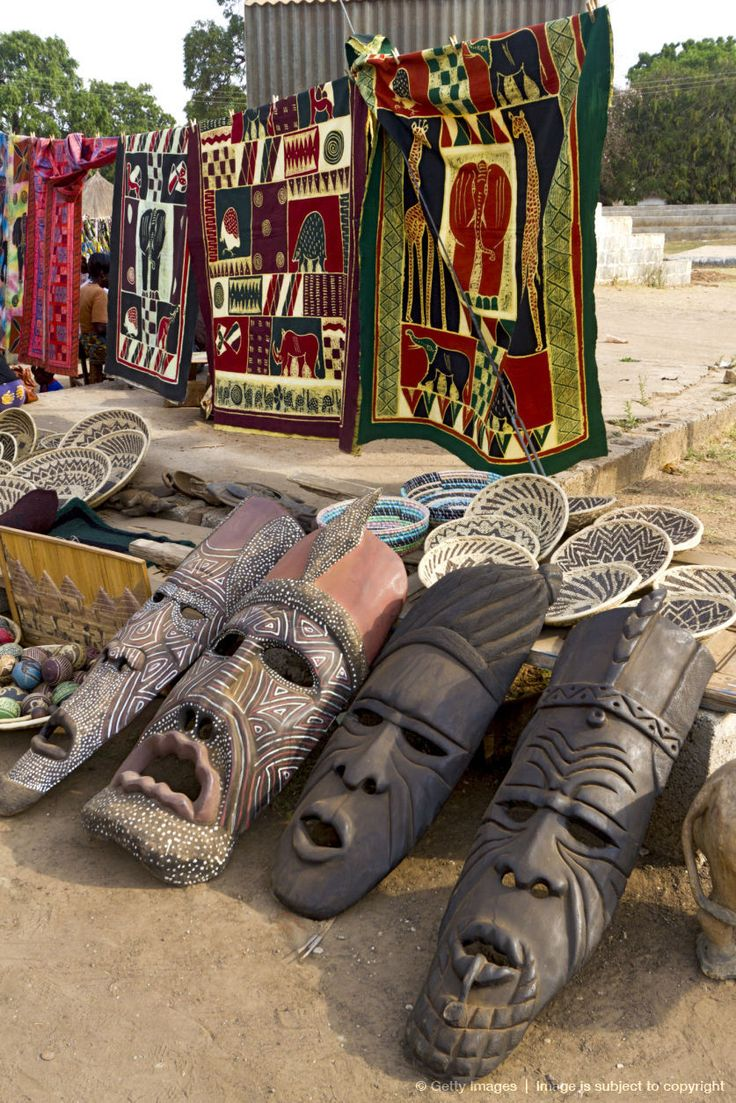 Crafts for sale at craft village in Lusaka, Zambia, Africa