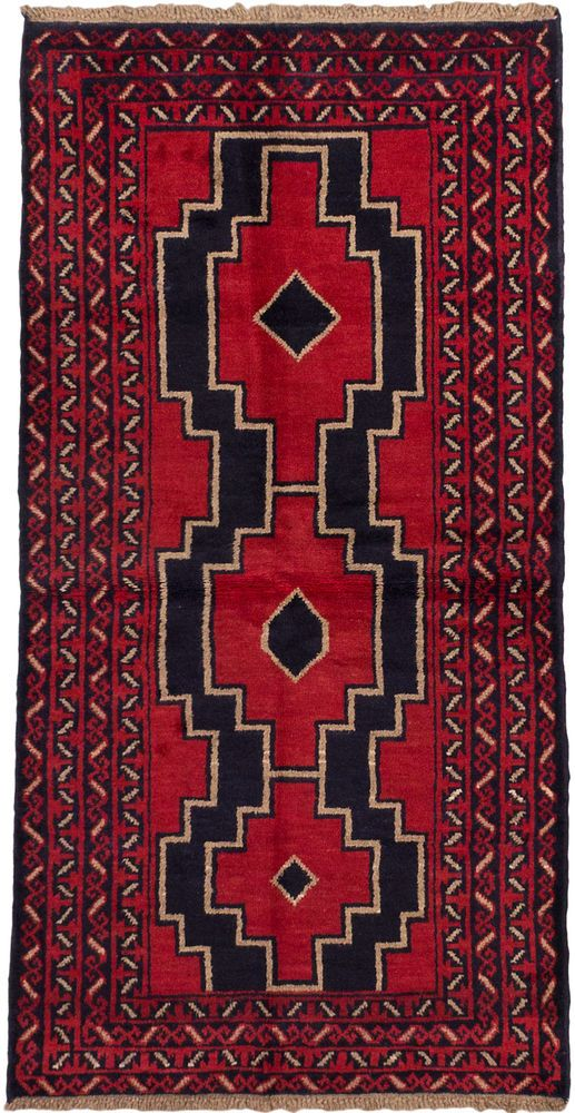 """Hand-knotted Carpet Sale 3'5"""" x 6'6"""" Bahor Traditional, Tribal Red Rug in Home & Garden, Rugs & Carpets, Area Rugs 