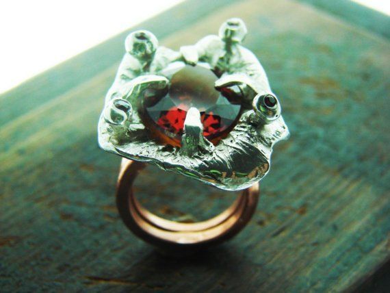 This Ring is one of a kind .  Ring size :7.5 can be Resizing to +/_  Materials :sterling silver ,copper ,orange yellow Citrine,Ruby.  Marks : sterling,  Ring dimension :Top-3.7 x3 cm H-3.4 cm.  Weight :26.5 grams.