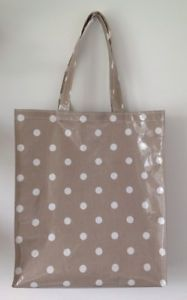 Tote shopping bag/ book bag Handmade In Taupe Spotty Oilcloth   eBay