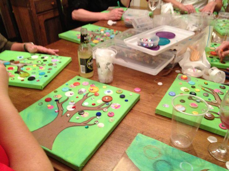 Vintage Button Tree - Art Party, kimberly santiago art.: (minus the drink...)