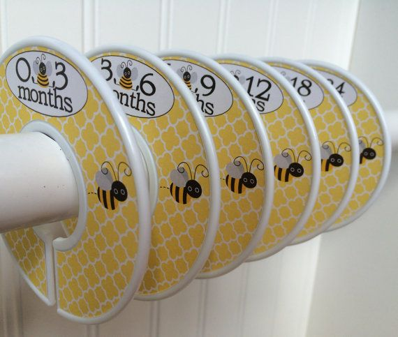 6 Custom Baby Closet Dividers Organizers Yellow Bumble Bees Baby for Girl or Boy / gender neutral  Nursery Dividers Clothes Organizers