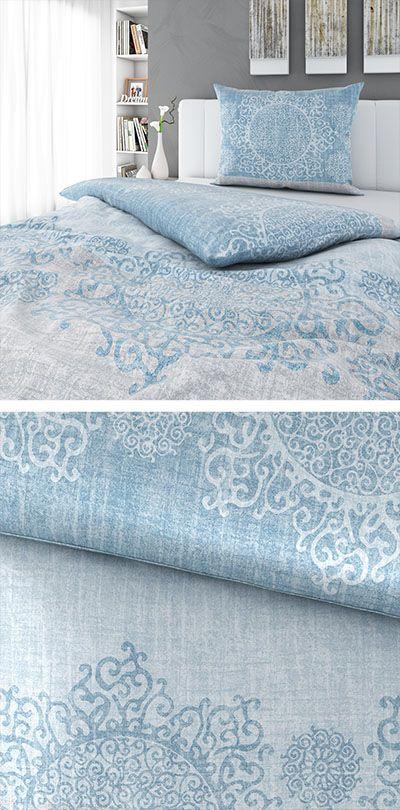 Hellblaue Bettwäsche Mit Orientalischem Muster 140x200 Bettwäsche